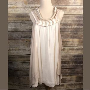 BcbgMaxazria Runway Beige Silk Halter Dress T106